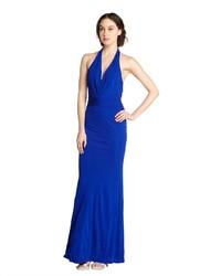 ABS by Allen Schwartz Cobalt Jersey V Neck Halter Gown