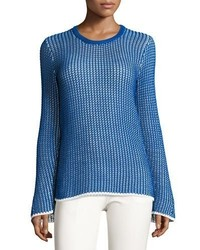 Derek Lam Mesh Long Sleeve Crewneck Sweater Bluewhite