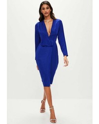 Missguided Tall Blue Drape Wrap Dress