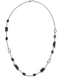 Alexis Bittar Long Gunmetal Lapis Crystal Station Necklace Blue