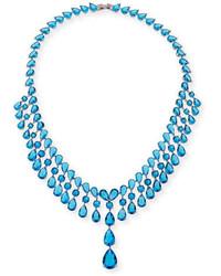 Fallon Monarch Raindrop Bib Necklace Blue