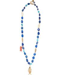 Rosantica Saona Gold Tone Multi Stone Necklace Blue