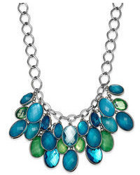 Style&co. Silver Tone Blue And Green Oval Bead Cluster Necklace