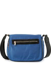 Neiman Marcus Charlie Nylon Messenger Crossbody Bag Dusk Blue