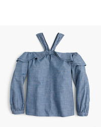 J.Crew Petite Off The Shoulder Tie Neck Top In Chambray