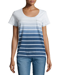 Nanette nanette lepore constance striped scoop neck tee blue wave wash medium 1253175