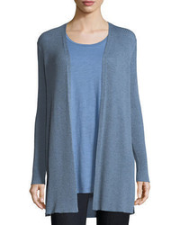 Eileen Fisher Long Straight Wool Crepe Cardigan Petite