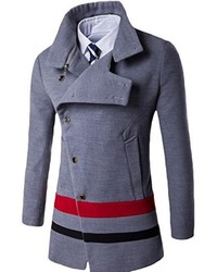 Honey GD Stylish Turn Down Collar Wool Blend Overcoat Dust Coat