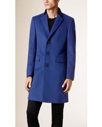 Burberry Virgin Wool Cashmere Topcoat With Velvet Topcollar