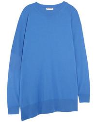 Oversized fleece wool and cashmere blend sweater blue medium 5172944