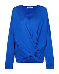 Stella McCartney Twist Front Slub Silk Jersey Sweater