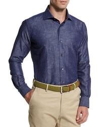 Peter Millar Tonal Paisley Print Chambray Sport Shirt Blue
