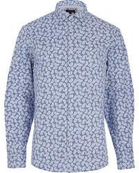River Island Navy Paisley And Gingham Long Sleeve Shirt