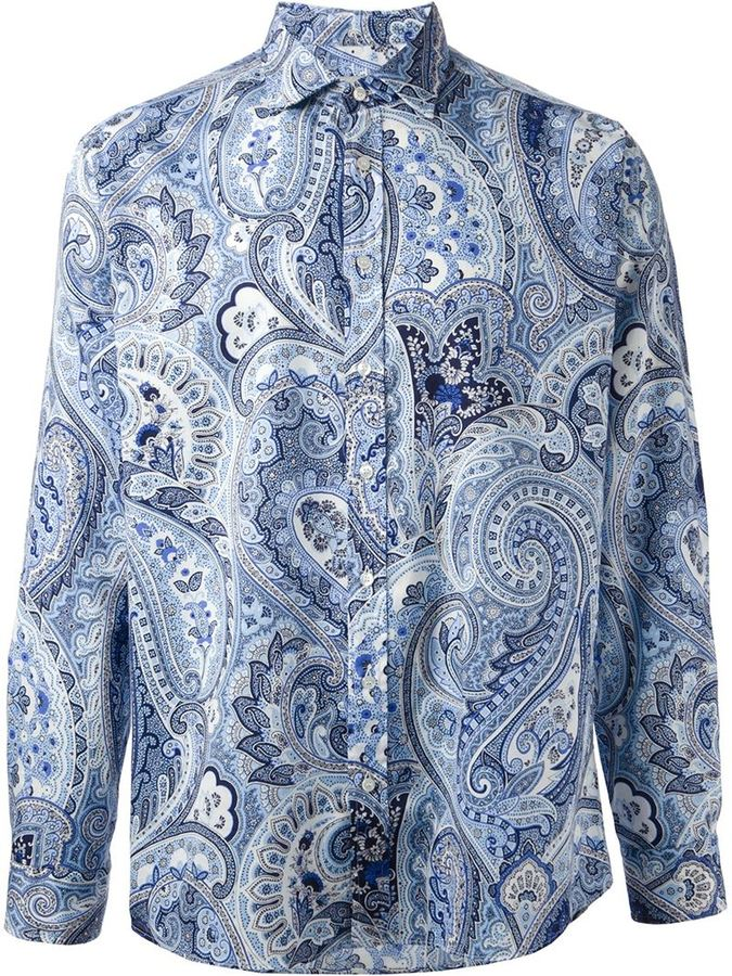 paisley-print shirt - Blue Etro Many Kinds Of Cheap Online P6uHI