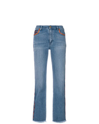 Etro Cropped Paisley Stripe Jeans