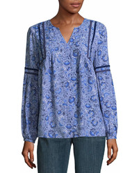 Blue Paisley Long Sleeve Blouse