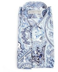 Etro Blue Paisley Print Cotton Spread Collar Dress Shirt