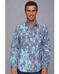 Thomas Dean Co Blue Print Tailored Fit Ls Sport Shirt