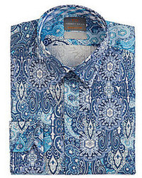 Thomas Dean Exploded Paisley Long Sleeve Woven Shirt