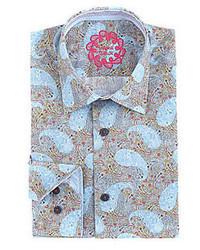Visconti Floating Paisley Long Sleeve Woven Shirt