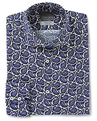 Thomas Dean Long Sleeve Paisley Woven Shirt