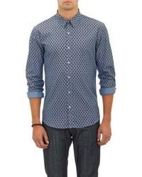 Barneys New York Paisley Oxford Cloth Shirt Blue