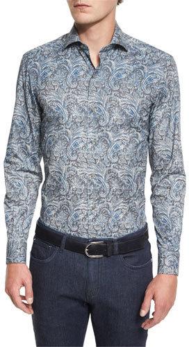 Ermenegildo Zegna Paisley Print Long Sleeve Sport Shirt Teal