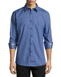 English Laundry Paisley Print Sport Shirt Navy