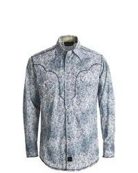 Powder River Outfitters Panhandle Slim 90 Proof Distressed Wash Paisley Print Western Shirt Snap Front Long Sleeve Grey