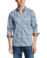 Ted Baker Praised Long Sleeve Paisley Satin Woven Shirt
