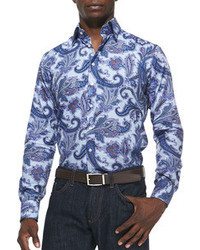 Etro Textured Paisley Sport Shirt Light Blue