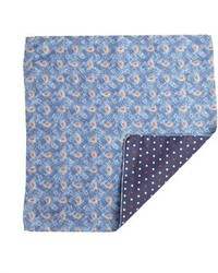 Daniel Dolce Blue And Red Paisley Silk Blend Reversible Pocket Square