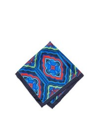 Neiman Marcus Paisley Silk Pocket Square Bluered