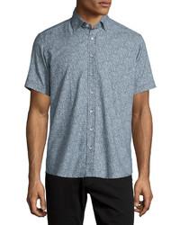 Paisley print short sleeve sport shirt navywhite medium 641374