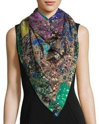 Bombay silk chiffon paisley scarf navy medium 1125149