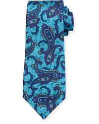 Kiton Paisley Print Silk Tie Blue