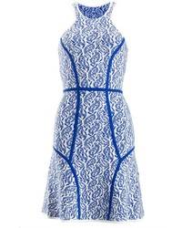 Yigal azroul blue paisley intarsia dress medium 117303