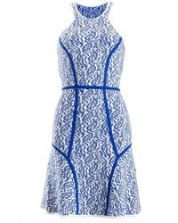 Yigal azroul blue paisley intarsia dress medium 117303
