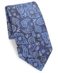 Isaia Faded Paisley Linen Silk Tie