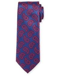 Canali Paisley Pines Silk Tie Redblue