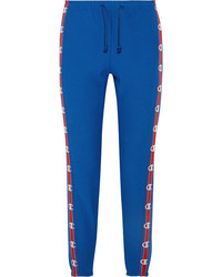 Vetements Champion Cotton Blend Jersey Track Pants Blue