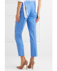Michael Kors Michl Kors Collection Samantha Wool Blend Twill Slim Leg Pants Blue