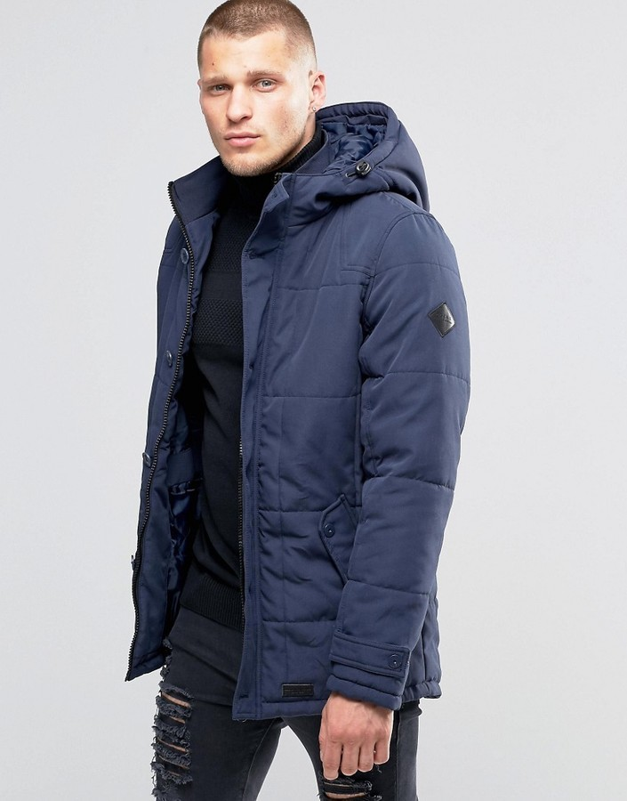 a55b2c2d9fb817 Blend of America Blend Hooded Heavy Parka Jacket Navy, $91 | Asos ...
