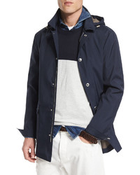 Brunello Cucinelli Double Face Hooded Parka Cobalt