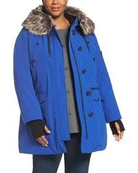 Plus size faux fur trim parka medium 844944