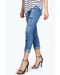Boohoo Sara Relaxed Patchwork Boyfriend Jeans Mid Wash