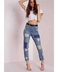 Missguided Riot Highrise Rip Patchwork Mom Jeans Vintage Blue