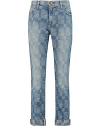 Current/Elliott The Fling Patchwork Low Rise Boyfriend Jeans