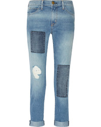Current/Elliott The Fling Patchwork Mid Rise Boyfriend Jeans