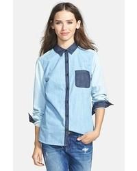 787c233784 Blue Patchwork Denim Shirts for Women | Women's Fashion | Lookastic.com